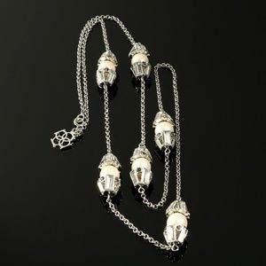 Ann Taylor Necklace Pearl Baguette Silver Tone